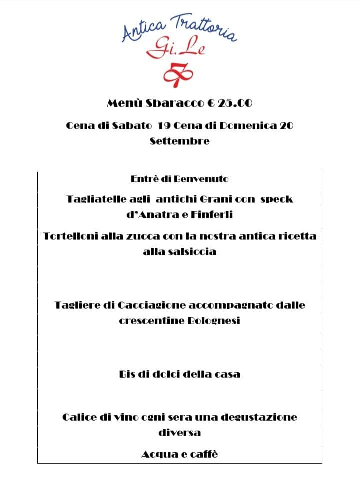 Per l'evento dello SBARACCO DI POGGIO RENATICO La nostra proposta per la Cena di…
