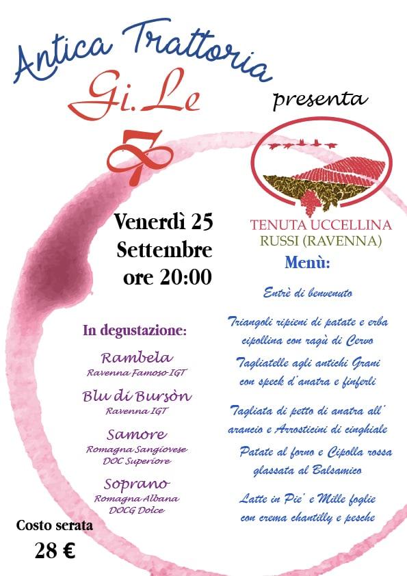 """Venerdì 25 Settembre: menù Degustazione con i vini """"Tenuta Uccellina"""""""